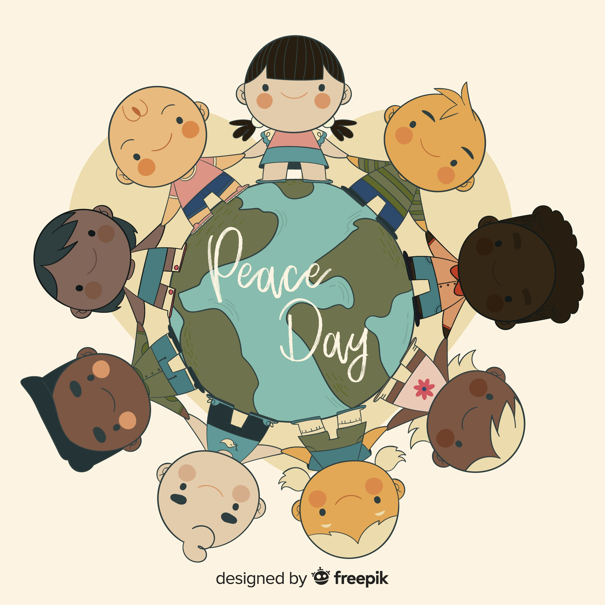 Hand drawn peace day composition with children holding hands