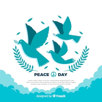 Hand drawn peace day composition with lovely dove