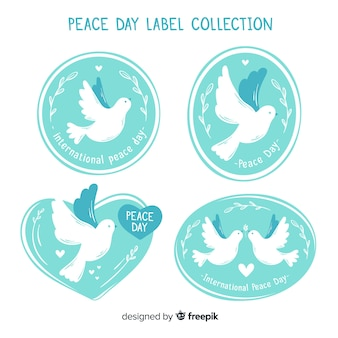 Hand drawn peace day dove badge collection