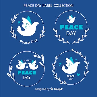Hand drawn peace day dove label collection