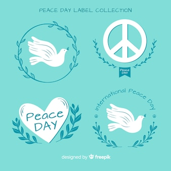 Hand drawn peace day label and badge collection