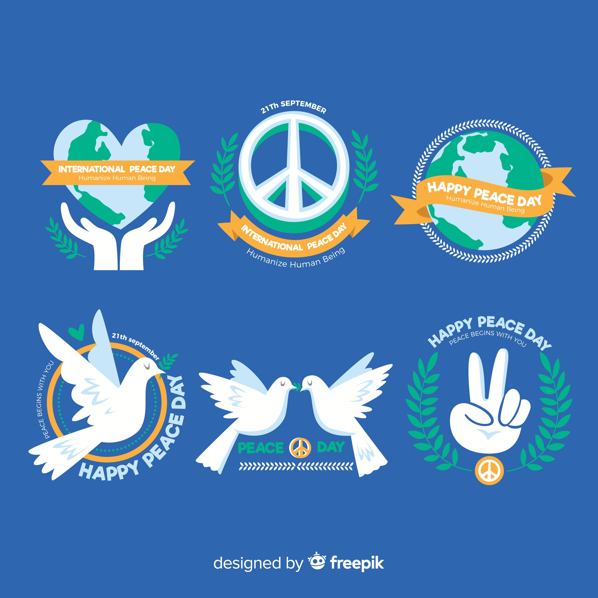 Hand drawn peace day label collection