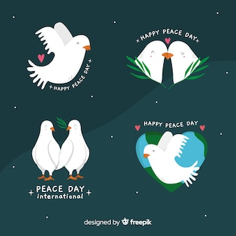 Hand drawn peace day pigeons collection