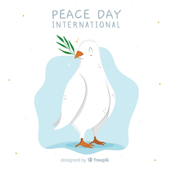 Hand drawn peace day white dove