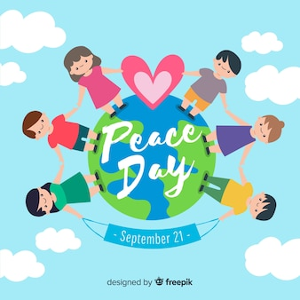 Hand drawn peace day with children holding hands