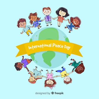 Hand drawn peace day with children