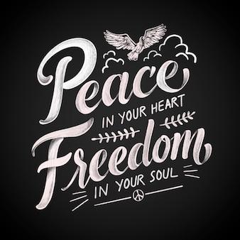 Lettering di pace e libertà disegnato a mano