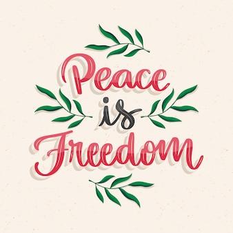 La pace disegnata a mano è scritta sulla libertà