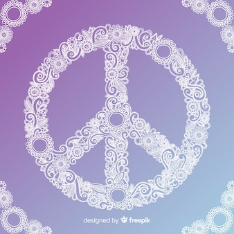 Hand drawn peace sign background