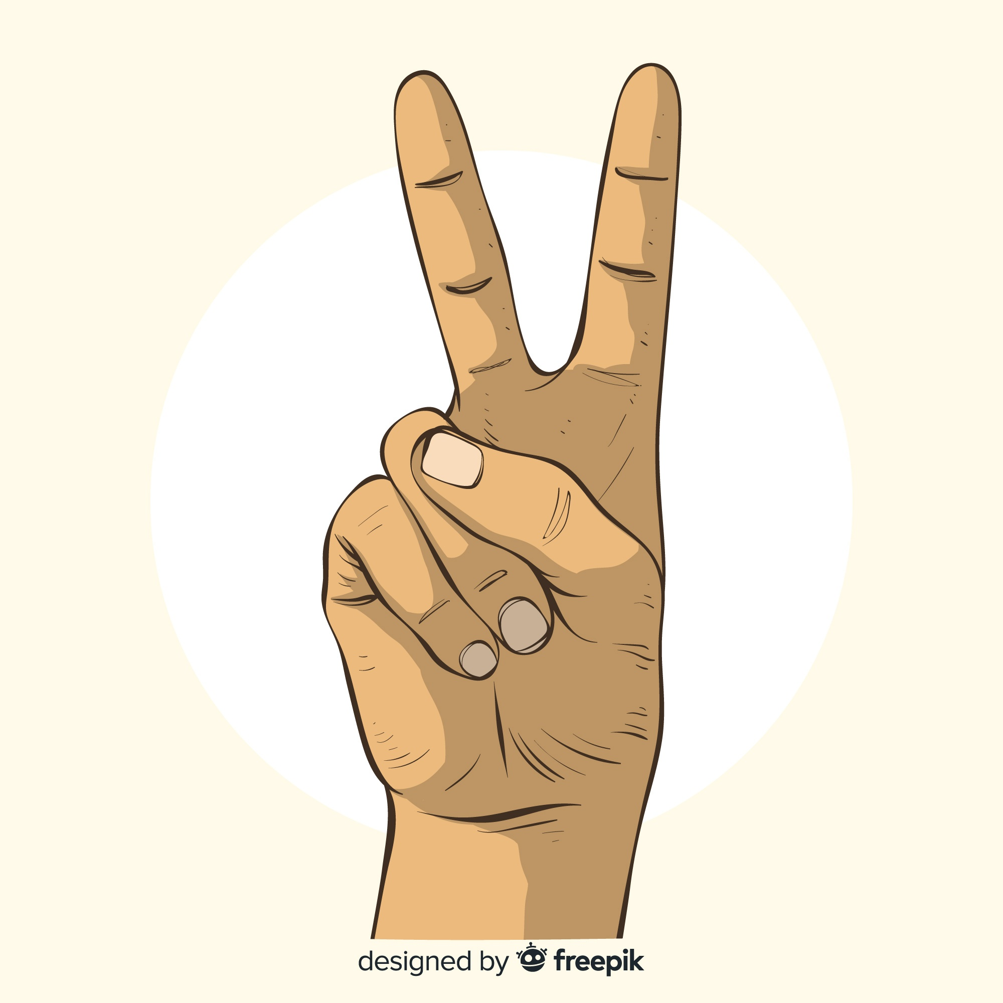 Hand drawn peace sign hand