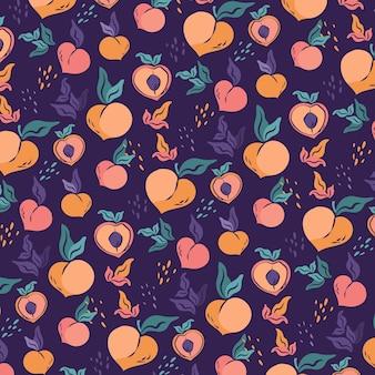 손으로 그린 복숭아 패턴 디자인