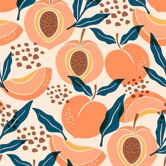 手描きの桃のパターンデザイン