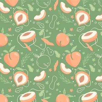 手描き桃柄デザイン