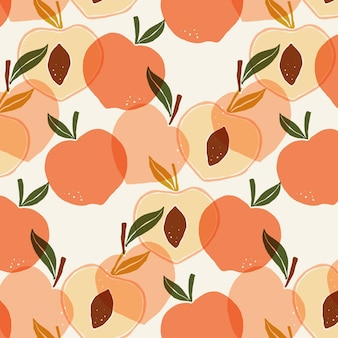 手描きの桃のパターン