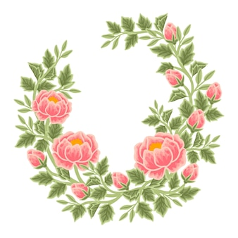 Hand drawn peach peony floral frame and wreath arrangement