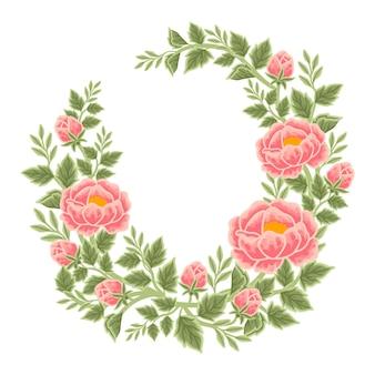 Hand drawn peach peony flower frame and wreath arrangement