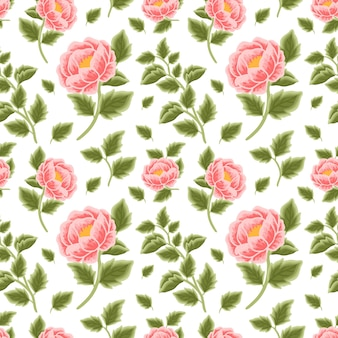 Hand drawn peach peony flower seamless pattern with leaf branches