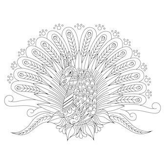 Hand drawn of peacock in zentangle style