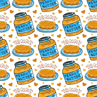 Hand drawn peanut butter seamless pattern. vector background with breakfast pancakes. for wrapping and packaging food design.