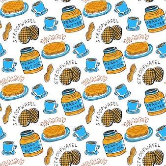 Hand drawn peanut butter seamless pattern.
