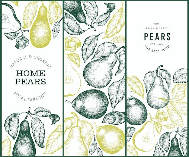 Hand drawn pears banner set