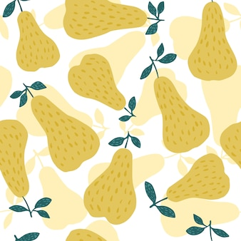 Hand drawn pears seamless pattern on white background.