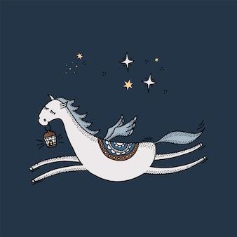Hand-drawn pegasus flies across the blue sky with stars.