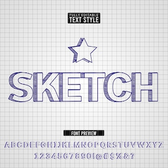 Hand drawn pen sketch text font effect collection set
