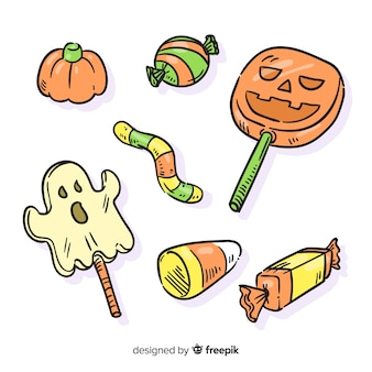 Hand drawn in pencil halloween candy collection