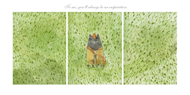 緑の牧草地とかわいいパターンかわいい小さな猫に手描きの鉛筆水彩画。
