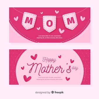 Hand drawn pennants mother's day banner