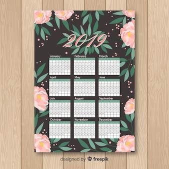 Hand drawn peonies calendar template