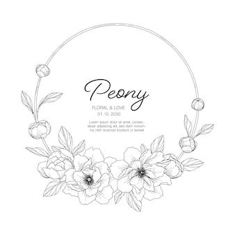 Нарисованная рукой иллюстрация цветочной поздравительной открытки пиона с линией искусства на белом фоне.