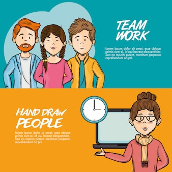 Hand drawn people and team work infographics over orange and teal background vector illustration