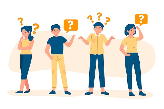 Hand drawn people asking questions illustration