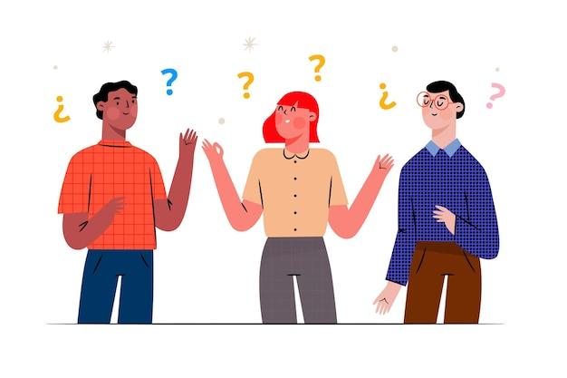 Persone disegnate a mano che fanno domande illustrazione