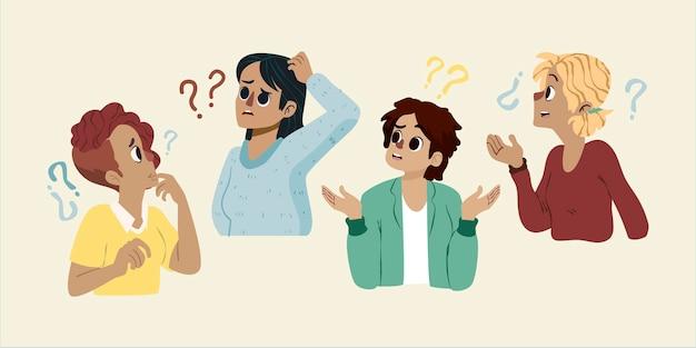 Нарисованные рукой люди, задающие вопросы иллюстрации