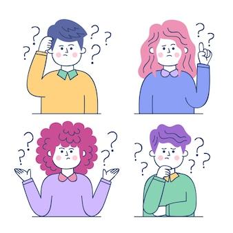 질문 그림을 묻는 손으로 그린 사람들