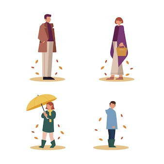 Hand drawn people in autumn collection