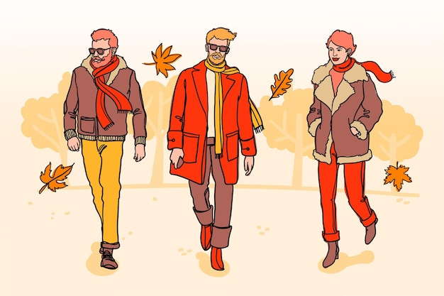 Hand drawn people in autumn