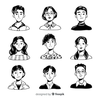 Hand drawn people avatar batch
