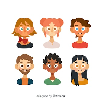 Hand drawn people avatar collection