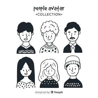 手描きの人々のアバターパック