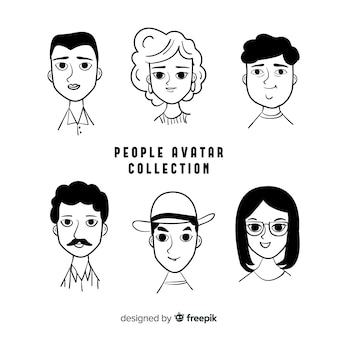 Hand drawn people avatar pack