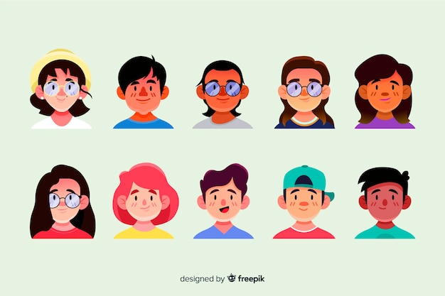 Hand drawn people avatar set