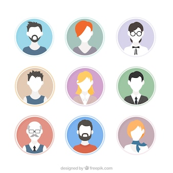 Hand drawn people avatars without faces set