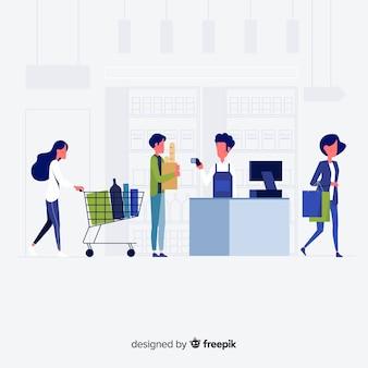Рисованной люди покупают в супермаркете фоне Бесплатные векторы