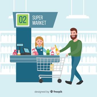 Рисованной люди покупают в супермаркете фоне