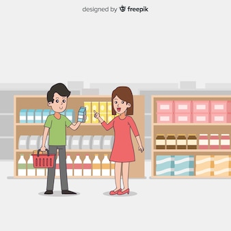 Hand drawn people buying in the supermarket background