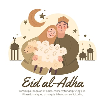 Нарисованные рукой люди празднуют иллюстрацию ид аль-адха